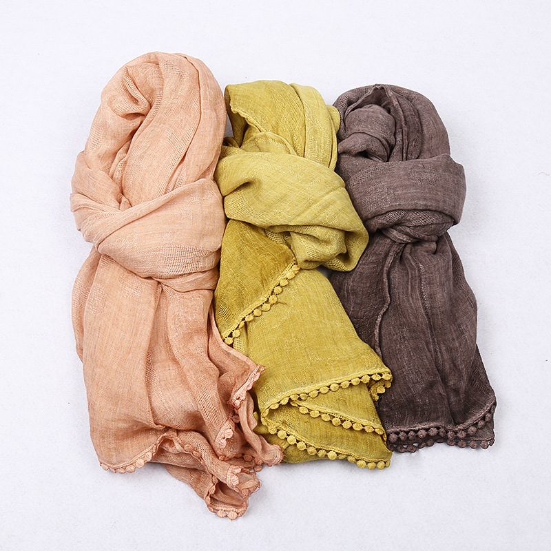 Big Size cotton soft lace scarf hijab bubble edges scarf women winter scarf long muslim HIJAB scarves/shawls