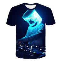 Sonido activado 3D impresión camiseta iluminación arriba y abajo intermitente ecualizador EL camiseta hombres rock disco bola DJ hombres camisa de