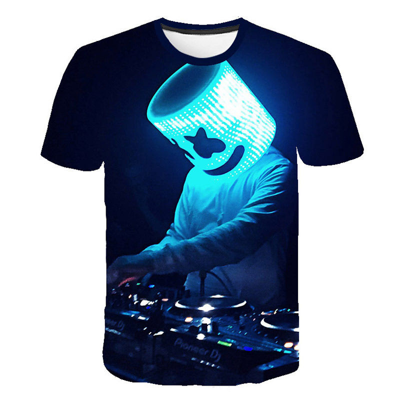 Sound Activated 3D Printing T-shirt Lighting Up And Down Flashing Equalizer EL T-shirt Men's Rock Disco Ball DJ Men's Shirt
