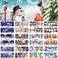 12 Folhas XMAS Nail Art Adesivo de Transferência de Água Cobertura Completa Decalques Feliz Natal Boneco de Neve Adesivos Envoltório Decoração Dica A1141-1152