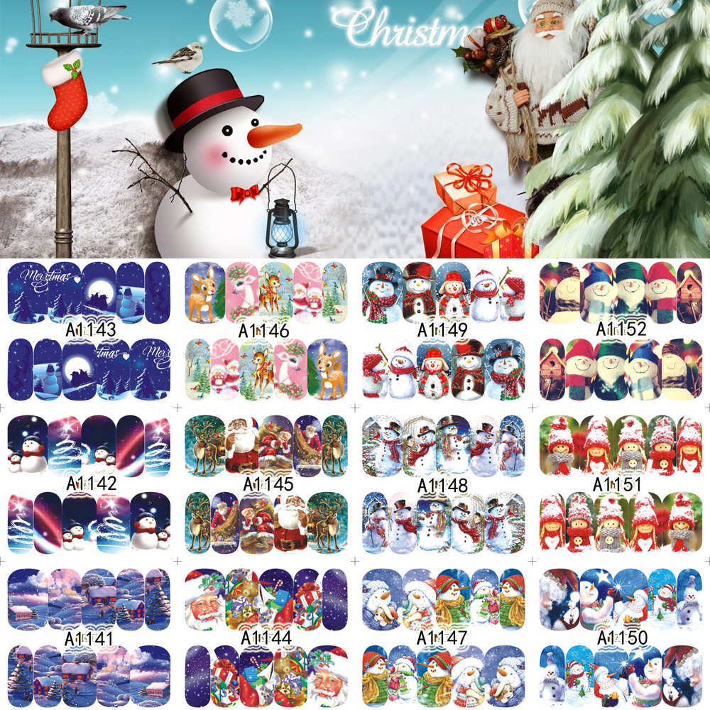 12 Sheets XMAS Nail Art Water Transfer Sticker Full Cover Decals Merry Christmas Snowman Stickers Wrap Tip Decoration A1141-1152 12 sheets nail art water transfer sticker full cover decals french eiffel tower pisa italy design stickers wrap tips decoration