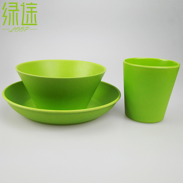 100% Degradable china plates dinnerware set new bamboo tableware green cup bow and flatware natural & Aliexpress.com : Buy 100% Degradable china plates dinnerware set new ...