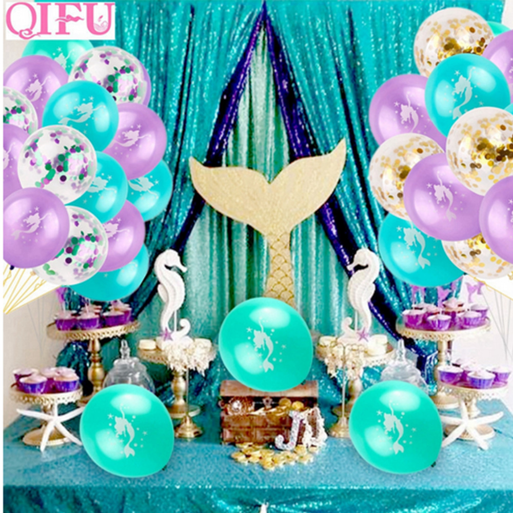 QIFU Little Mermaid Party Supplies Theme Mermaid Decor Mermaid Banner Balloon For Kids Favor Happy Birthday Wedding Party Decor