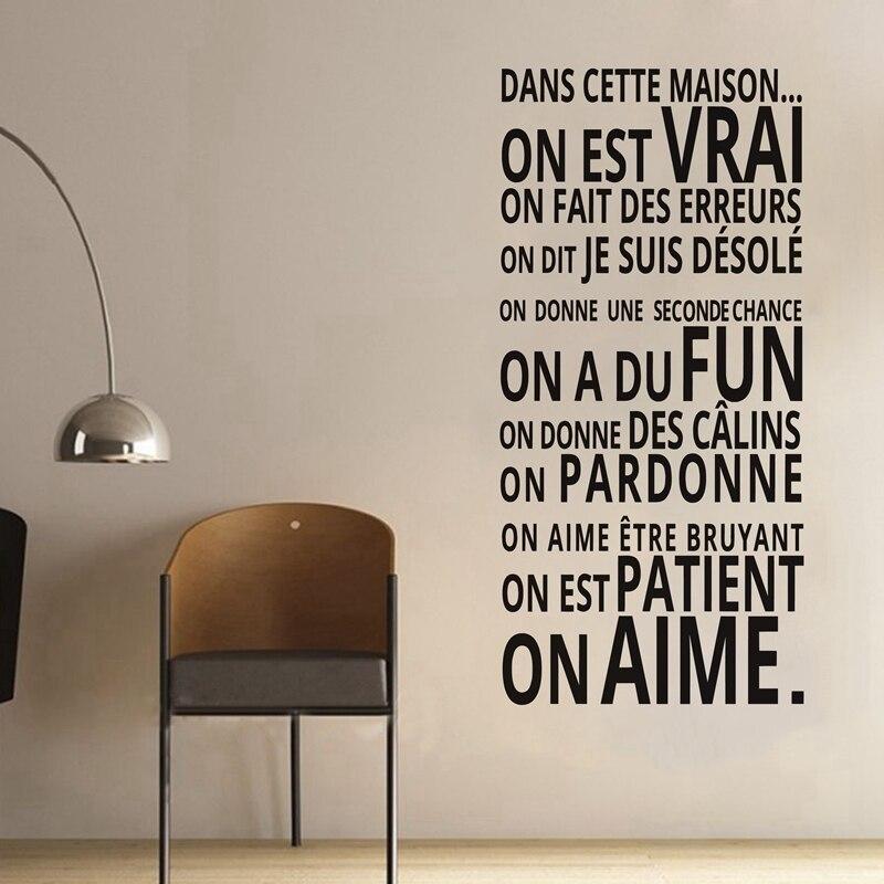 Français décoration de la maison Livraison gratuite DANS CETTE MAISON wall sticker maison règles vinyle stickers muraux décor à la maison, fr2006