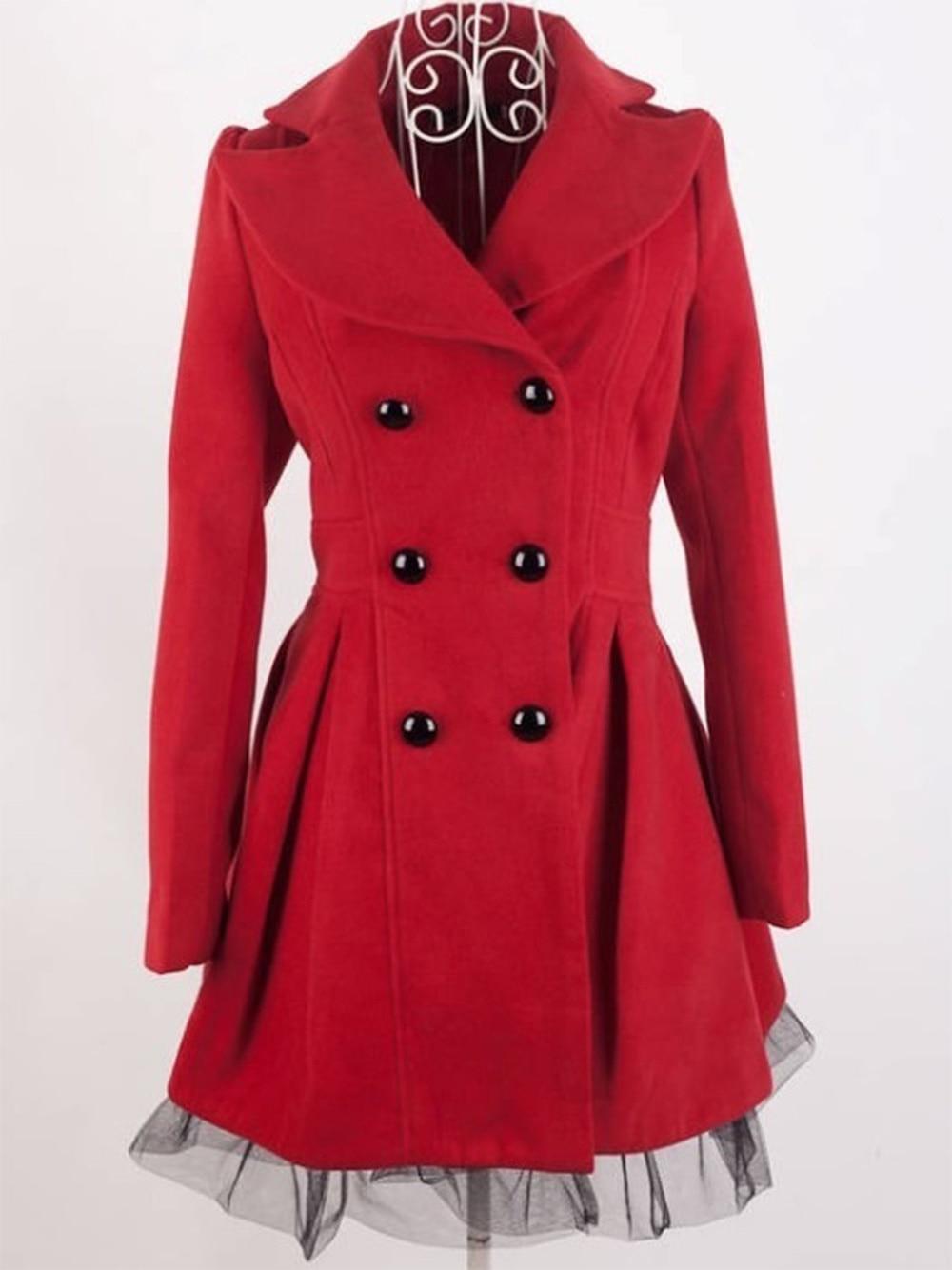 ZOGAA Women's Woolen Dress Coat Solid Lace Hem Steampunk Victorian Swallow Tail   Trench   Coat Double-Breasted Female Long Coat