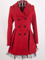 ZOGAA Women's Woolen Dress Coat Solid Lace Hem Steampunk Victorian Swallow Tail Trench Coat Double Breasted Female Long Coat