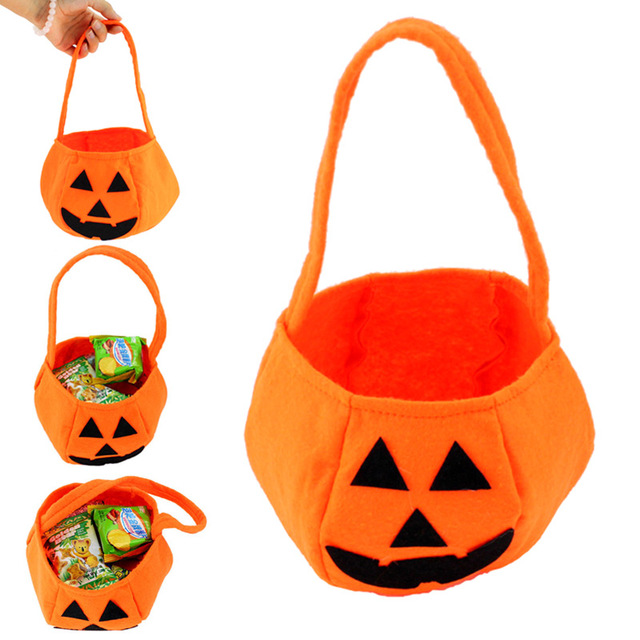 New Decoration Props Pumpkin Bag Non Woven Fabrics Candy Handbag For Kids Children Toys