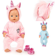 New 2pcs/set Suit+Shoes Dolls Outfit For 43cm Baby Born Doll Cute Jumpers Rompers for 17 Inch Doll Clothes(China)