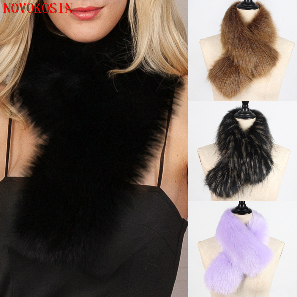 High Quality Hang Dye 2018 Autumn New Fashion Women Fur Warm Ring Collar Neck Winter Faux Detachable