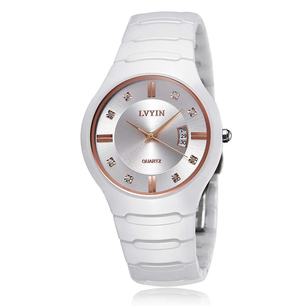 LVYIN Ceramic Couple Watches Brand Luxury Black Lover Women Men Relojes Hombre With Box Quartz Calendar Dress Watches