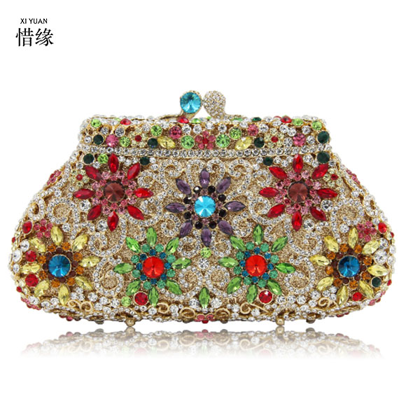 XIYUAN BRAND Female Diamonds Metal Evening Bags Alloy Mixed Color Chain Shoulder Purse Evening Bags for Party Purse day clutches new 3d relief angel luxury crossbody bag popular women diamonds evening bags baroque style day clutches purse bags chain purse