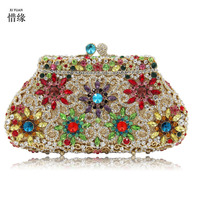 XIYUAN BRAND Female Diamonds Metal Evening Bags Alloy Mixed Color Chain Shoulder Purse Evening Bags for Party Purse day clutches