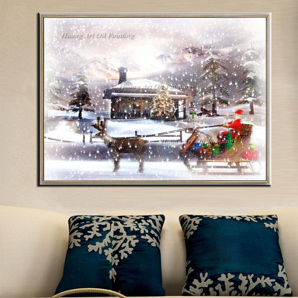 Handgeschilderde Schilderen op Canvas Moderne Kerstman Rit Herten Sneeuw Landschap Olieverf Art voor Decoratie Gift - 2