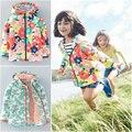 Crianças jaqueta de moda de nova flores primavera cisne dos desenhos animados esportes casuais à prova d' água do bebê meninas casacos e jaquetas crianças outerwear