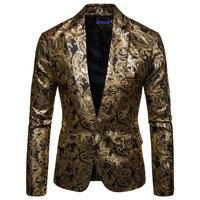 Gold Paisley Bronzing Blazer Jacket Men Nightclub DJ Prom Tuxedo Suit Blazer Men Wedding Party Dance Stage Costume for Singers