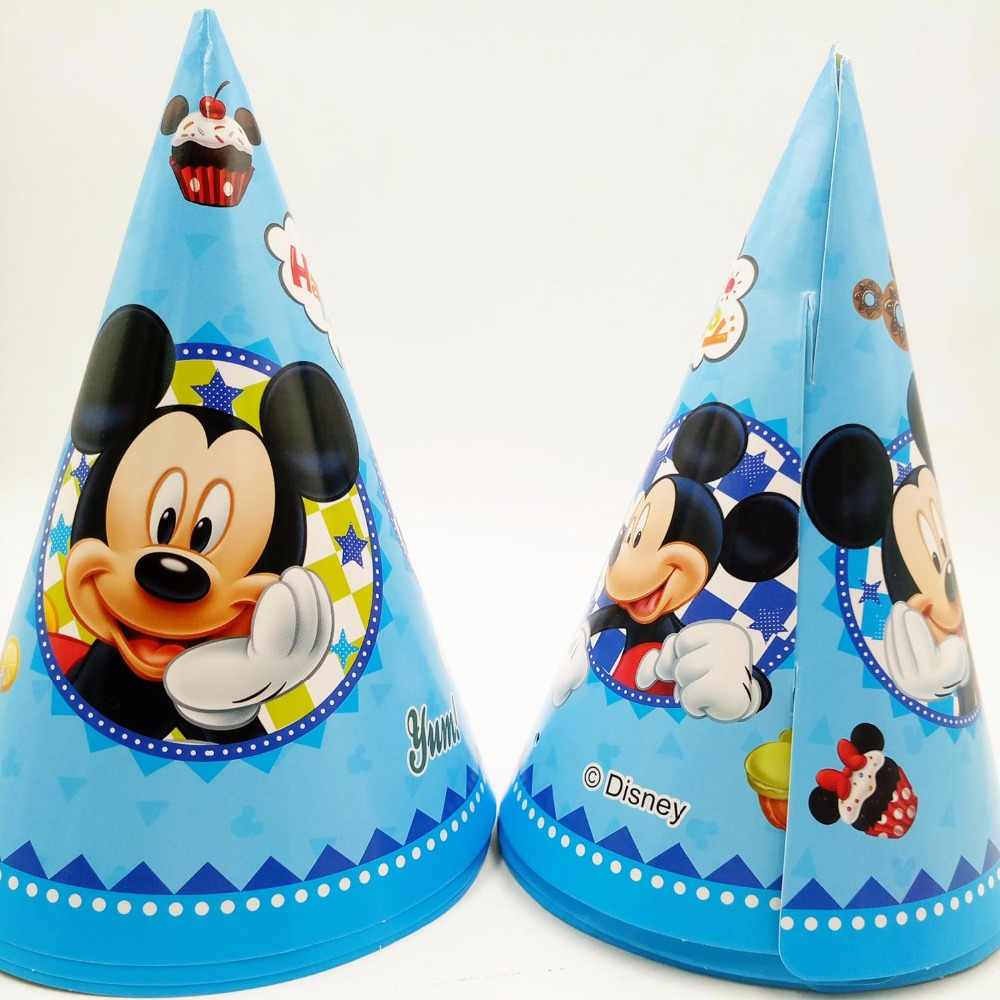 6 шт. 20*14,5 см Микки Маус бумага кепки мультфильм тема Малыш Мальчик день рождения поставки украшения для детей рождения