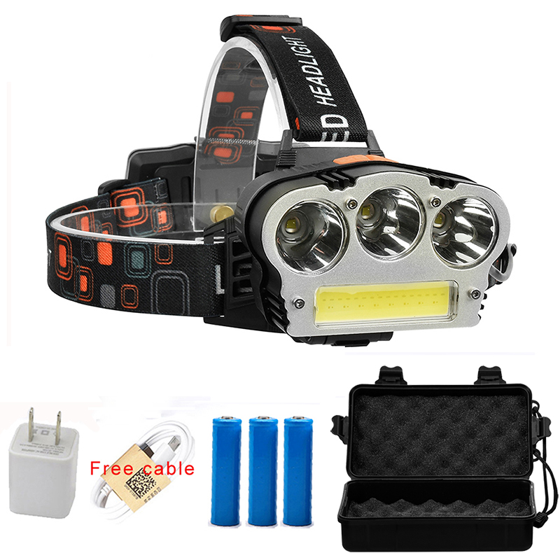 USB Rechargeable LED Headlamp 3* XML-T6 COB Head Lamp 2000lums Waterproof Outdoor Lighting Headlight by 3*18650 battery sitemap 165 xml page 3