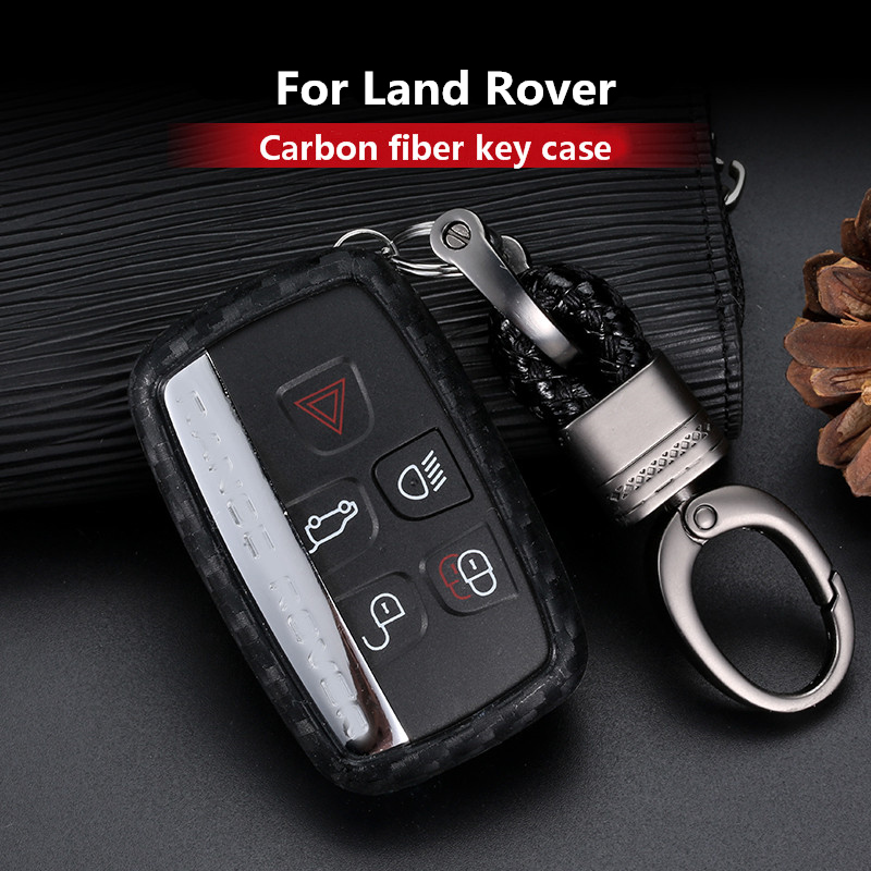 2019 New Carbon Fiber Silica gel Key Cover Case For Land <font><b>Rover</b></font> <font><b>Range</b></font> <font><b>Rover</b></font> Sport <font><b>Evoque</b></font> Velar Discovery 4 Car <font><b>keychain</b></font> keyring image