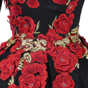 Image 5 - VINTAGE ลูกไม้สีดำแขนยาว Ball Gown Dresses 2019 ดอกไม้ Applique Beading Scoop คอทำจากชุดราตรี
