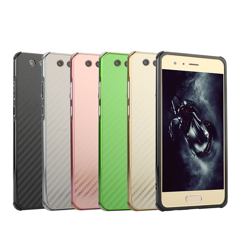 Luxury Shockproof Aluminum Metal Frame Bumper Case For Huawei P10 Plus P8 Lite 2017 Honor 9 Imitation Carbon Fiber Back Cover