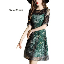 2017 summer new European and American women lace stitching printed dress imitation silk chiffon dress female