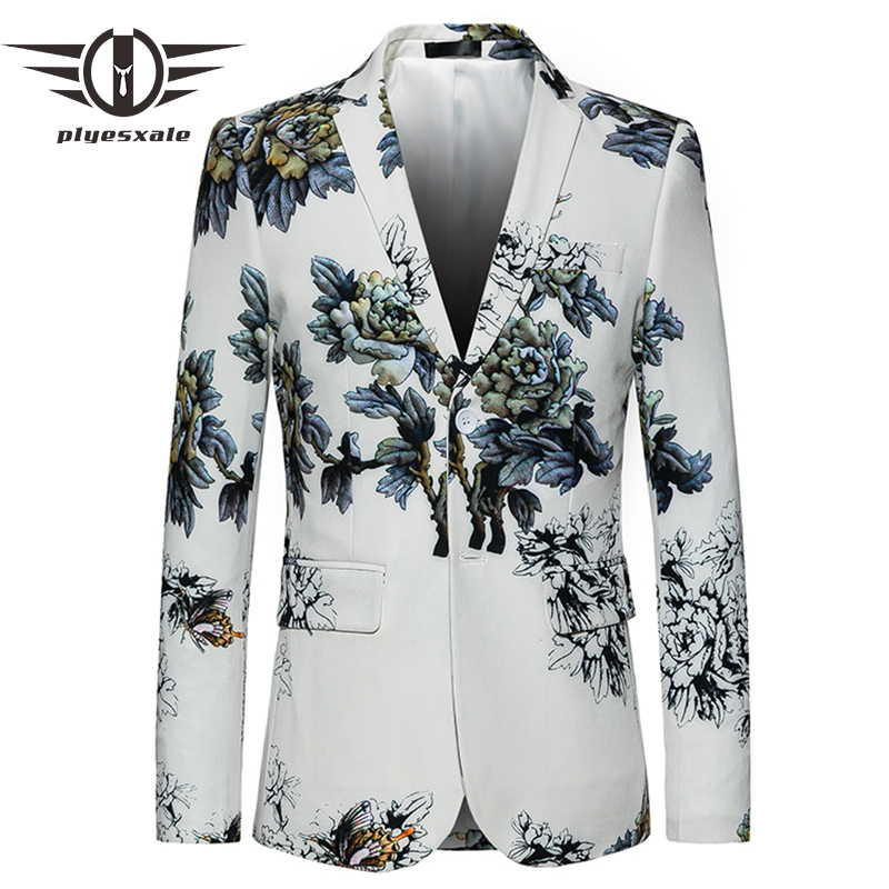 Plyesxale White Blazer Men 2018 Slim Fit Flower Pattern Floral Suit Jacket High Quality Casual Male Blazer Prom Blazers Q404