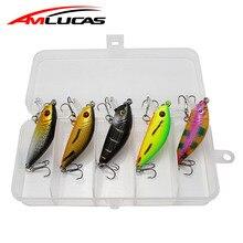 Amlucas 5ks 3.6g Mnohonásobná rybářská vázanka Topwater Crank Hard Bait Artificial Wobblers s rybářským nástavcem Box Bass Pesca WE301