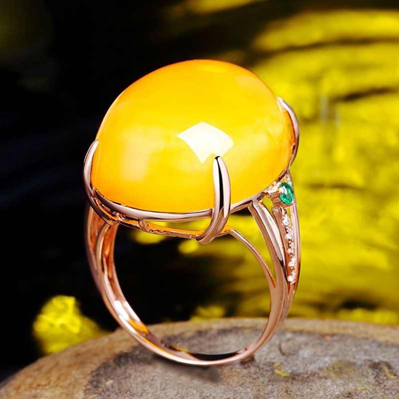 ยุโรป Big รูปไข่สีเหลืองหินเปิดแหวน Rose Gold สีขนาดเล็กสีเขียวแหวนโอปอล Vintage เครื่องประดับ