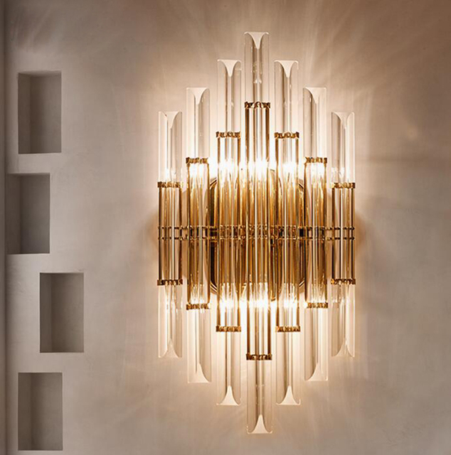 Modern European crystal wall lamp showroom lighting personality ...