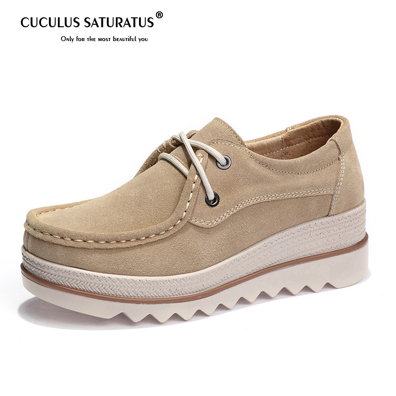 Cuculus Spring Autumn Women Flats Shoes leather suede moccasins platform sneakers heels shoes ladies lace up casual creepers 510