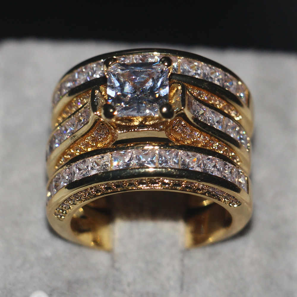Ручной работы Принцесса cut 20ct AAAAA Cz набор колец Желтое золото заполненное 925 серебро обручальное кольцо кольца для мужчин и женщин ювелирные изделия
