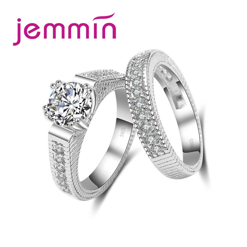 2pcs/lot Female Crystal White Round Ring Set Luxury 925 Silver Engagement Ring For Women Ladies Lover Party Wedding(China)