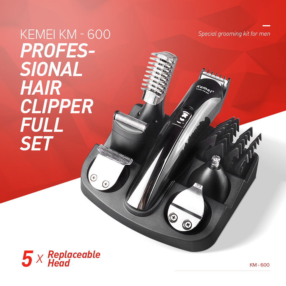 Kemei Professional Hair Clipper Electric Shaver 6 In 1 Bread Nose Hair Trimmer Cutters Ful