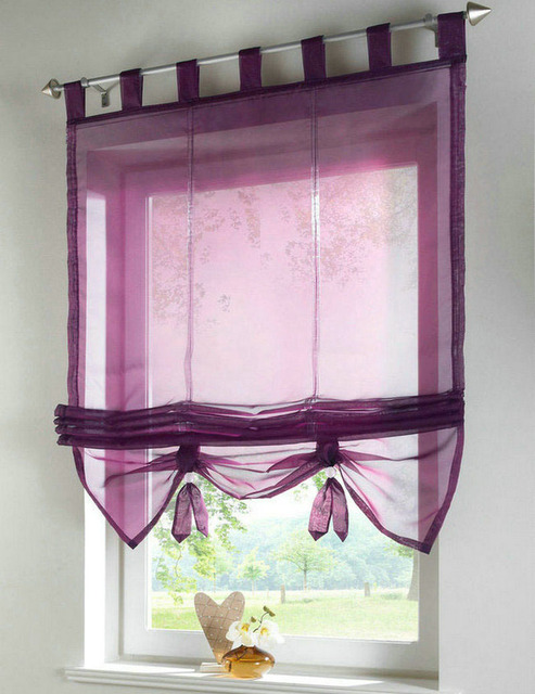 Factory Price New Solid Color Tab Top Kitchen Balcony Voile Roman Blinds Liftable Curtain 1pc
