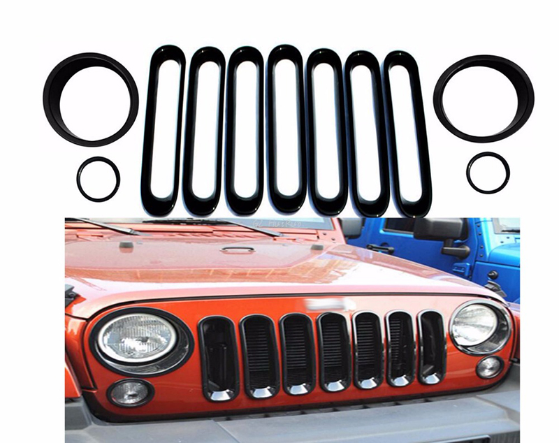 1 Set Black Front Grill Mesh Grille Insert Light Cover Trim For Jeep Wrangler Jk 2007-2015 Car styling 4pcs black led front fender flares turn signal light car led side marker lamp for jeep wrangler jk 2007 2015 amber accessories