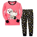 Hello Kitty Girls Pajamas Suits 2-7years Children Clothes Sets Girl's sets bottom T-Shirts Pant Sleepwear 100% Cotton