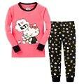 Hello kitty meninas pijamas ternos 2-7years crianças conjuntos de roupas da menina define camisetas fundo calça sleepwear 100% algodão