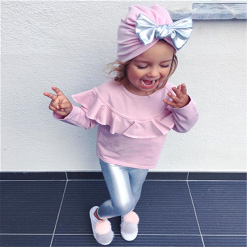 3PCS Baby Girl Clothes Set Ruffles Toddle Sets Long Sleeve T-Shirt Tops Silver Leggings Pants Bow Hat Clothing Set KidsCostumes ...