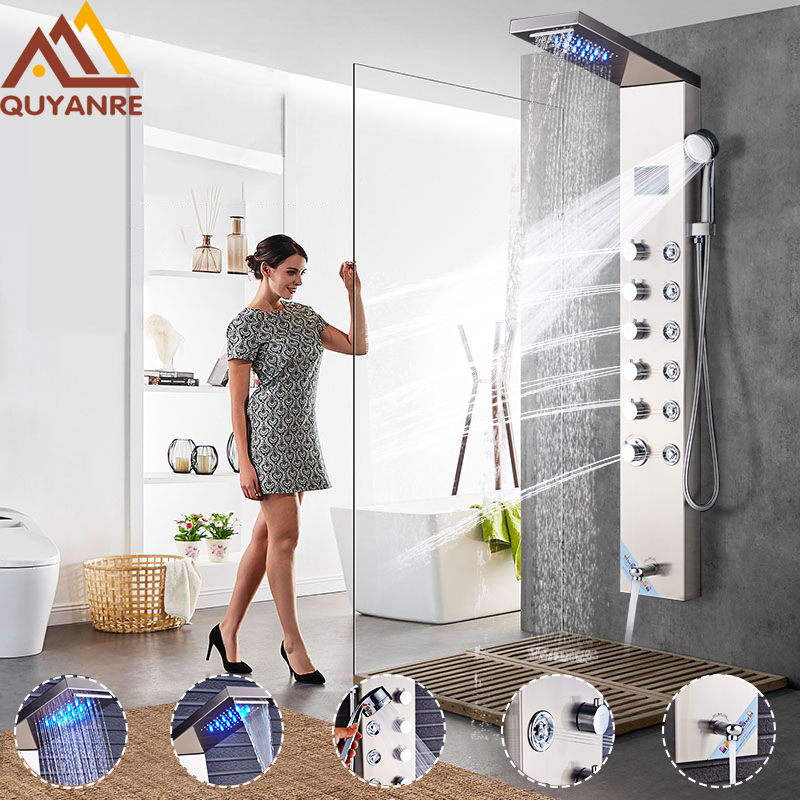 Quyanre Shower Faucet LED Rainfall Waterfall Shower Head Five Handles 6pcs SPA Jets Mixer Tap Faucets Tub Spout Bathroom Shower quyanre antique brass shower faucets set 8 rainfall shower head commodity shelf handle mixer tap swivel tub spout bath shower