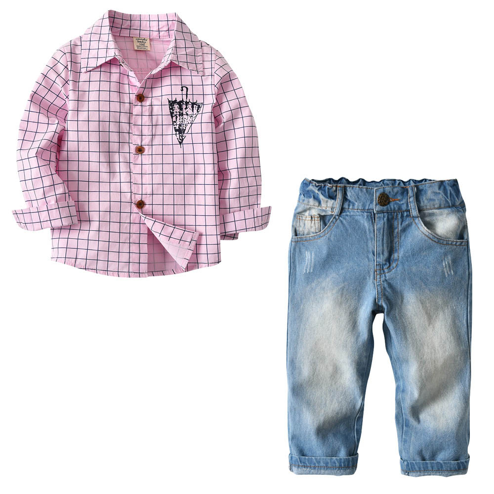 Children's Pink Plaid Printing Shirt+Vintage Straight Jeans For Kid Fashion Boy/Girl Denim Pants Casual Coat Trousers Suits Baby 50 52 big size fashion casual male denim pants biker jean hot sale trousers cotton classic straight jeans for man