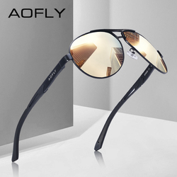 AOFLY BRAND DESIGN Pilot Polarized Sunglasses Men Vintage Oversized Metal Frame Driving Sunglasses Male Goggles AF8050