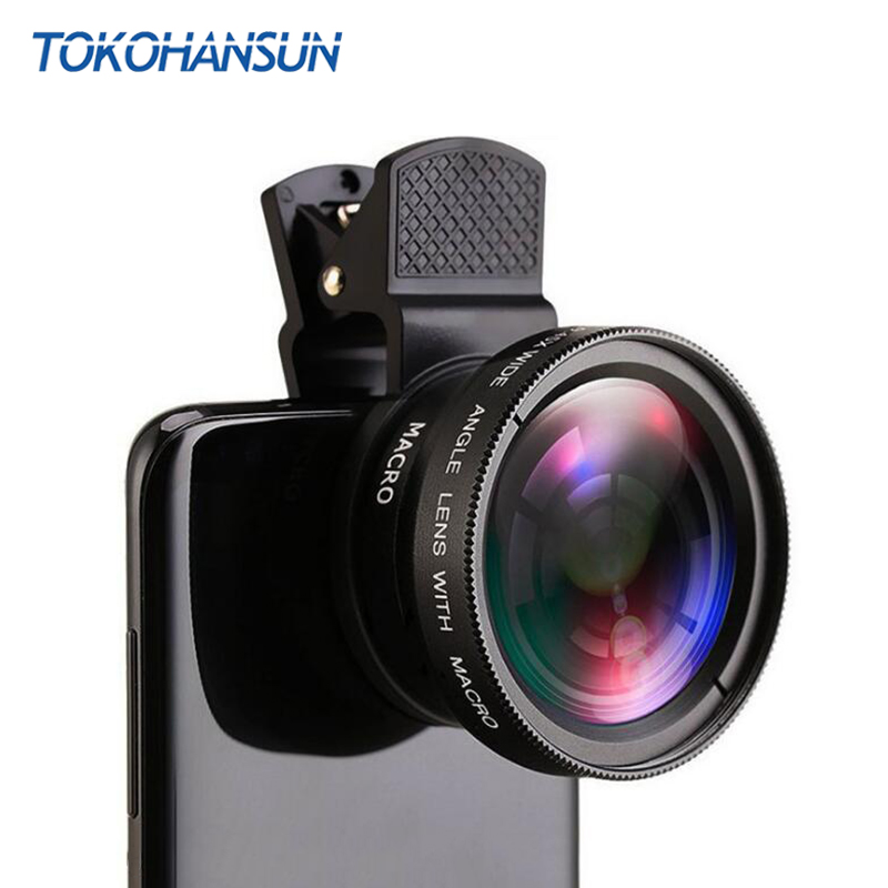 TOKOHANSUN Phone Lens Kit 0.45x Super Wide Angle & 12.5x Super Macro Lens HD Camera Lentes For iPhone 6S 7 Xiaomi More Cellphone