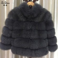 Natural Genuine Fox Fur Overcoat Winter Warm Real Natural Fur Coat For Women Female Jacket With Collar Striped Style 161123-1