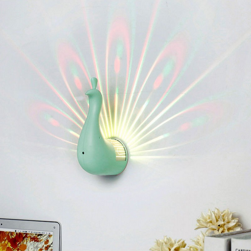 Colorful Peacock Shape 3D Remote Control Touch Sensor RGB LED Projection Lamp Hallway Home Decor Children Gift USB Night Light remote control colorful cartoon led decoration night light