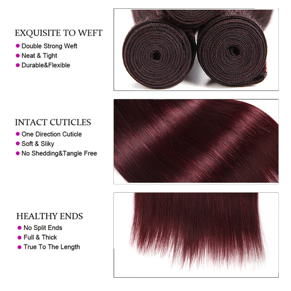 Image 4 - 99J/Burgundy Brazilian Straight Human Hair Weaves Bundle KEMY HAIR 8 to 26 Inch Hair Weaving 1 PC Non Remy Hair Extensions-in Hair Weaves from Hair Extensions & Wigs