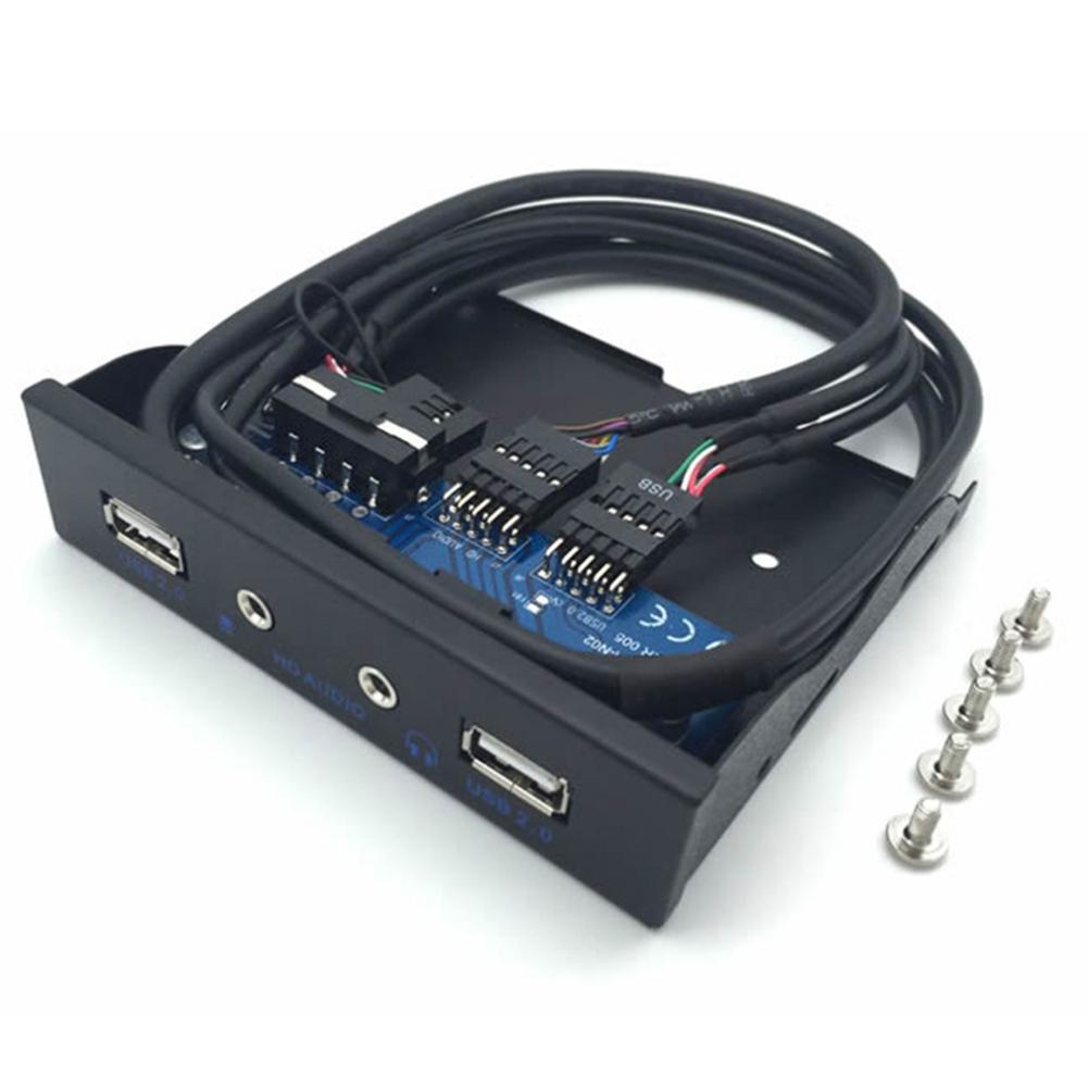 HOT 3.5inch USB2.0 9PIN HUB HD Audio Output Floppy Drive Expansion Front Panel
