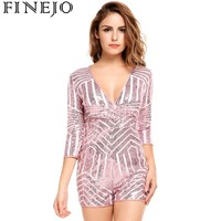 FINEJO Women Sexy Deep V neck Jumpsuit Party Summer Half Sleeve Bodysuit Sequined Striped Slim Club Playsuits Women overalls