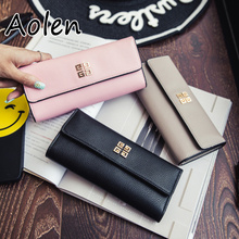 Aolen wallets high quality red purse purses genuine leather women small mini coin female for girls 2016 woman luxury long cute