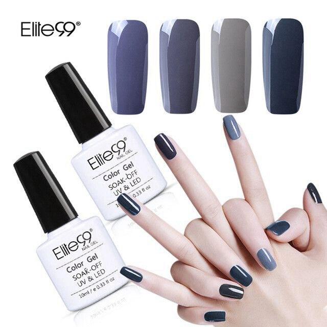Elite99 Gray Pure Color Nail Gel Lacquer Grey Gel Polish Base Top ...