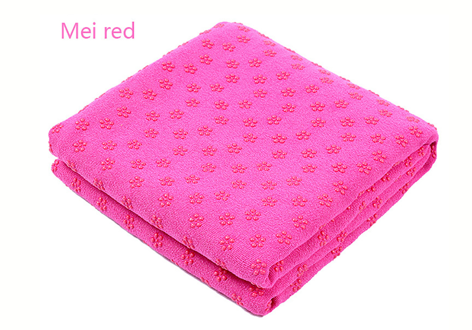 Photo of mei red color Yoga mat towel of microfiber & bag. Workout ultrafiber towel mat & mesh bag